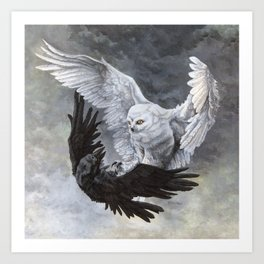 Yin Yang Owl and Raven Art Print