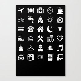 Basic White model: Traveler emoticon help for travel t-shirt Canvas Print