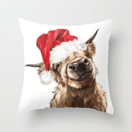 Christmas Highland Cow Throw Pillow