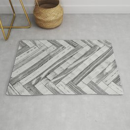 Vintage Diagonal Design //Black and White Wood Accent Decoration Hand Scraped Design Rug
