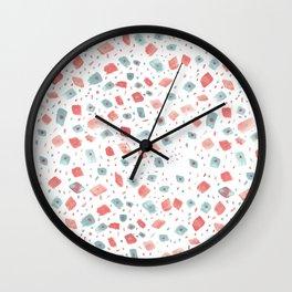 Hand painted pink teal watercolor brushstrokes polka dots pattern Wall Clock