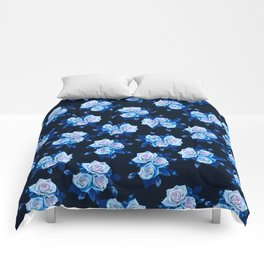Dark and Blue Roses Comforters