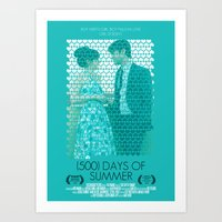 500 days of summer Art Prints featuring (500) Days of Summer by Hector Pahaut
