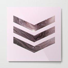 Pink Agate Chevron Metal Print