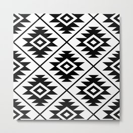Aztec Symbol Pattern Black on White Metal Print