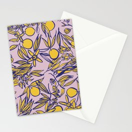 Orange Blossoms on Lavender Stationery Cards