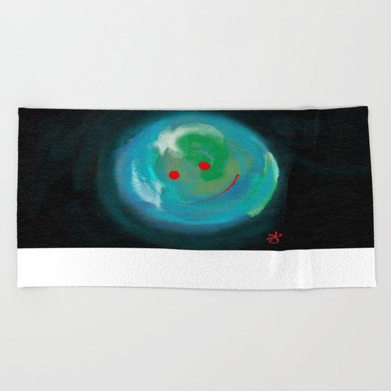 Smiling Planet Beach Towel
