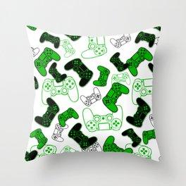 Video Games Green on White Throw Pillow