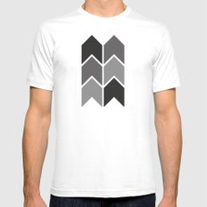 Black & White Arrow Pattern MEDIUM White Mens Fitted Tee