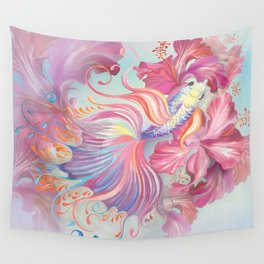 Pastel Fish Drawn Wall Tapestry
