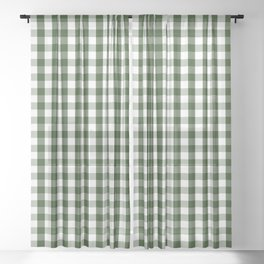 Dark Forest Green and White Gingham Check Sheer Curtain