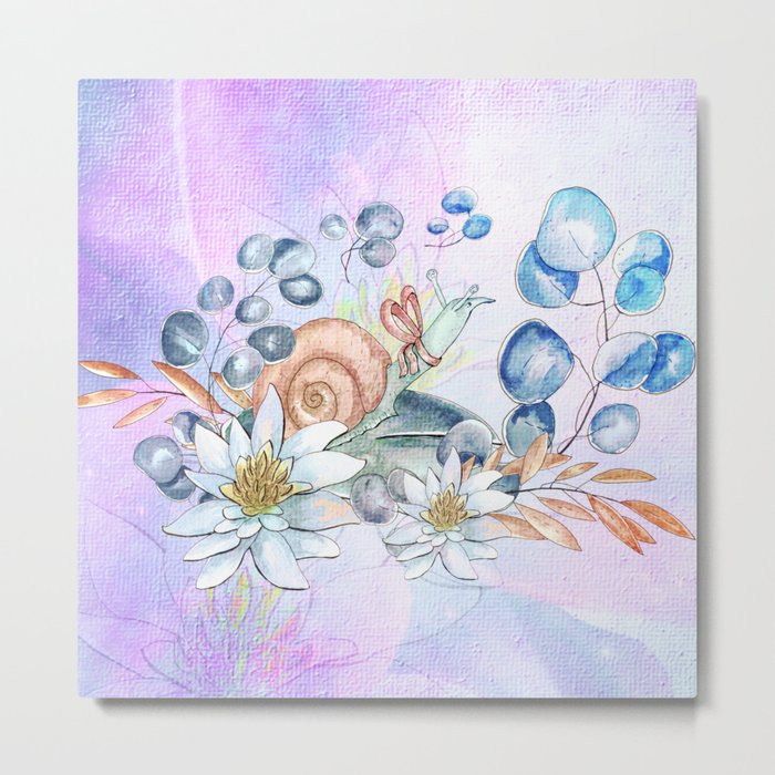 Snail and waterlily, Metal Print