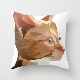 Geometric Kitten Digitally Crafted Throw Pillow