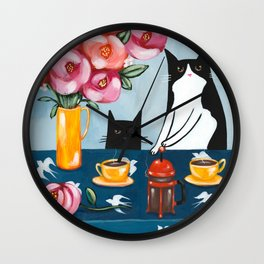 Cats and French Press Coffee Wall Clock