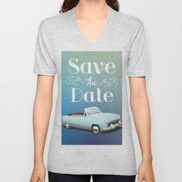 Save the Date Vintage Car Unisex V-Neck