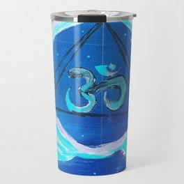 OM Blue Arcylic Paint on canvas Travel Mug