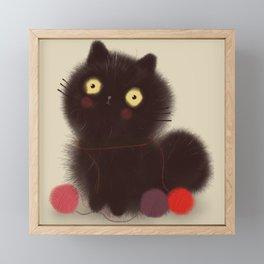 Cute Fuzzy Black Cat with Yarn // Black // Kitty Framed Mini Art Print