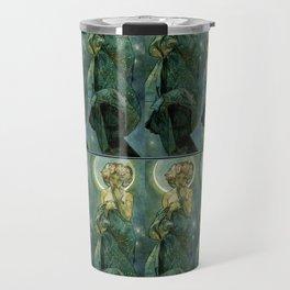 "Alphonse Mucha ""The Moon and the Stars Series: The Moon"" Travel Mug"