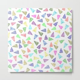 Hand painted pastel pink teal green watercolor triangles Metal Print