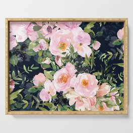Floral Watercolor Roses Garden, Navy Blue and Pink, Vintage Art Serving Tray