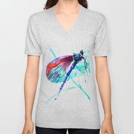 Dragonfly , Turquoise Bright Blue Red art Unisex V-Neck