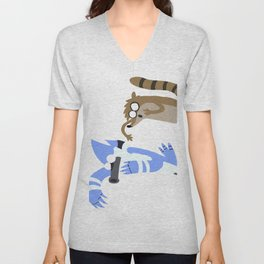 Mordecai and Rigby  Unisex V-Neck
