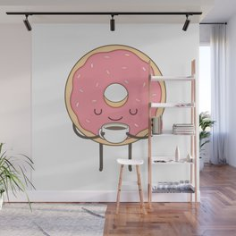 donut loves coffee Wall Mural