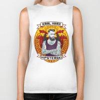 marx Biker Tanks featuring Karl Marx Hipster by Ferguccio