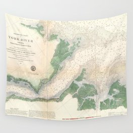 Vintage York River Entrance Map (1857) Wall Tapestry