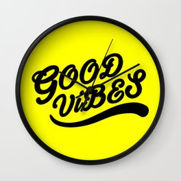 Good Vibes Happy Uplifting Design Black And Yellow Wall Clock