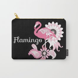 Pink Flamingo Cool Cute Black Carry-All Pouch
