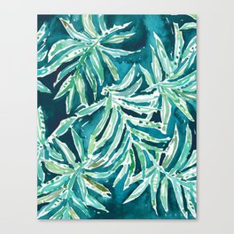 SANTA CRUZIN' Navy Tropical Palm Leaves Canvas Print