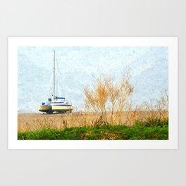 Boat on sandy beach at Bigbury-on-Sea Art Print