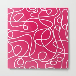 Doodle Line Art | White Lines on Deep Pink Metal Print