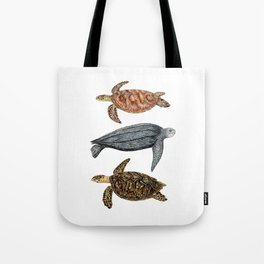 Green, leatherback and hawksbill sea turtles Tote Bag