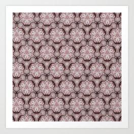 red pink baroque pattern Art Print