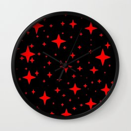 Bright Red Stars in Space , Cristmas Stars Wall Clock