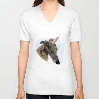 greyhound V-neck T-shirts featuring greyhound unicorn by Ingrid Winkler