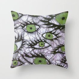 green eyes batik Throw Pillow