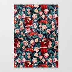 Santa Claus and Floral Pattern Canvas Print