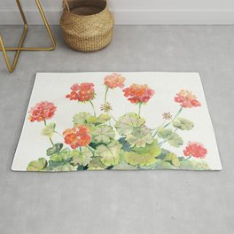 Geranium Watercolor  Rug