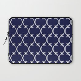 Moroccan Lattice in White on Navy Blue Laptop Sleeve