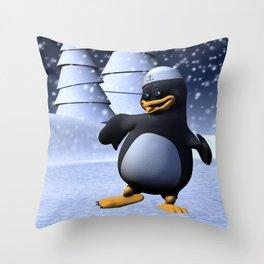 Dancing Penguin Throw Pillow