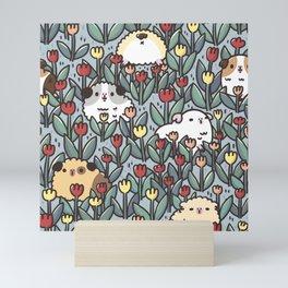 Guinea pigs and Tulips Pattern  Mini Art Print