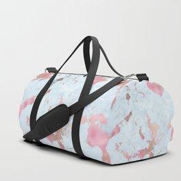 Rose Gold Foil on Summer Blue Marble Duffle Bag