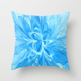 Blue Jeans Colors And White, Abstract Fractal Art Throw Pillow