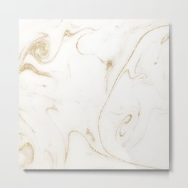 Elegant gold and white marble image Metal Print