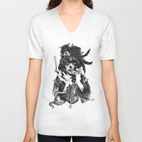 city V-neck T-shirts featuring Chicana by Rudy Faber