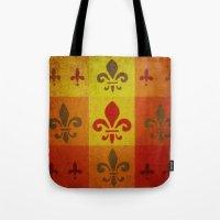 fleur de lis Tote Bags featuring Fleur de lis #3 by Camille