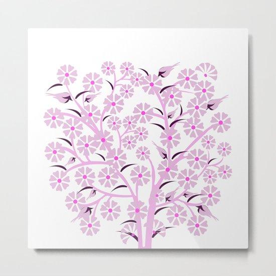 Pink Flowers and Birds Metal Print